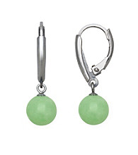 Sterling Silver and Jade Lever-Back Earrings
