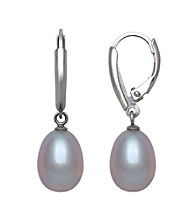 Sterling Silver and Gray Freshwater Pearl Lever-Back Earrings