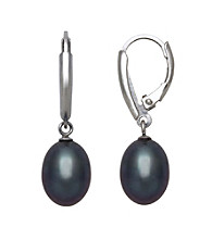 Sterling Silver and Black Freshwater Pearl Lever-Back Earrings