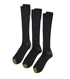GOLD TOE® Men's 3-Pack Navy Canterbury FX Over the Calf Socks