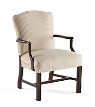 Southern Furniture Cream Striped Wood Arm Chair
