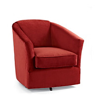 Emeraldcraft Bella Berry Microfiber Swivel Barrel Chair