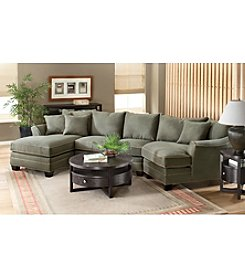 HM Richards Bryant Flared-Arm Pine Microfiber Sectional