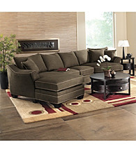 HM Richards Bryant Flared-Arm Espresso Multi-Piece Microfiber Sectional
