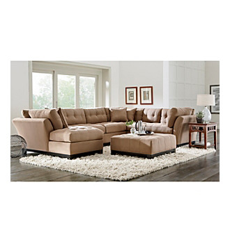 Hm richards beckham tufted microfiber living room for Microfiber living room furniture