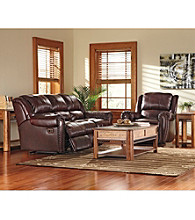 Lane® Summerlin Brown Leather Reclining Sofa & Glider