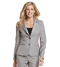Anne Klein® Bi-Stretch Two-Button Jacket - Pale Heather Gray