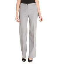 Anne Klein® Bi-Stretch Classic One-Button Pants - Pale Heather Gray