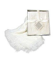Stephan Baby Shawl Cross Blanket - White
