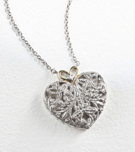 Sterling Silver and Diamond Accent Filigree Heart Pendant
