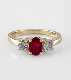 Effy® Ruby and White Sapphire Ring 14K Yellow Gold