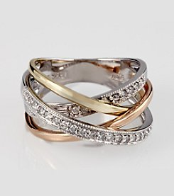 Effy® 14K Tricolor Gold and .31 ct. t.w. Diamond Crisscross Ring