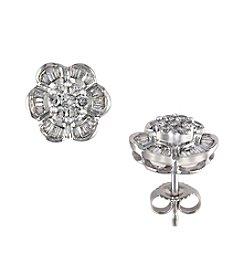 Effy® 14K White Gold and .60 ct. t.w. Diamond Earrings