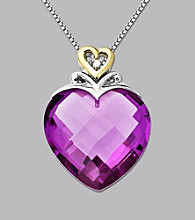 Created Pink Sapphire and Diamond Heart Pendant