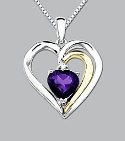 Amethyst with Sterling Silver and 14K Gold Heart Pendant
