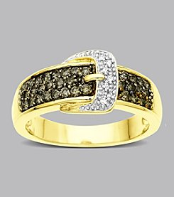 10K Gold and .50 ct. t.w. Brown Diamond Buckle Ring