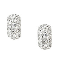Carolee® Silvertone and Clear Stone Tiny Hoop Earrings