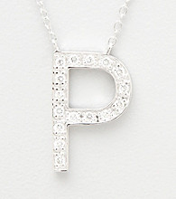 Rhodium-Plated Sterling Silver and Cubic Zirconia Letter