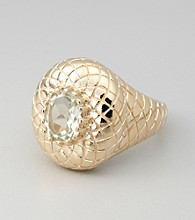 18K Gold-Over-Sterling Silver Prasiolite Ring