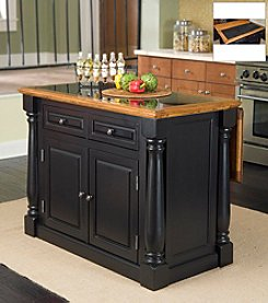 Home Styles® Winston Kitchen Island with Granite Insert Top - Black and Oak