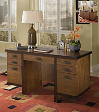 Home Styles® Hudson Pedestal Desk - Walnut