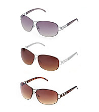 Steve Madden Deco Metal Rectangle Sunglasses