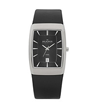 Skagen Denmark Men's Black Leather Watch