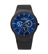 Skagen Denmark Men's Black Titanium Mesh Watch