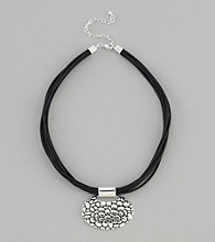 Napier® Multi-Row Faux Leather Necklace with Silvertone Pendant