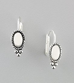 Napier® Small Antique Silvertone Oval Drop Earrings