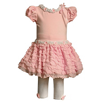 Bonnie Jean® Baby Girls' Ruffle Knit Legging Set - Pink
