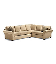 Bauhaus Mineral Tan Multi-Piece Microfiber Sectional with Accent Pillows