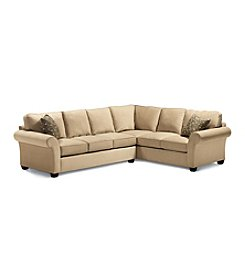 Bauhaus Mineral Tan Microfiber Sectional with Accent Pillows