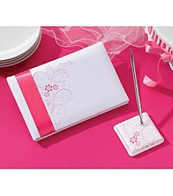 Lillian Rose® White Satin Guestbook & Pen with Floral Accents