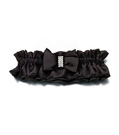 Lillian Rose® Black Satin Garter with Rhinestone