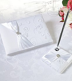 Lillian Rose® White Lace & Flower Guestbook & Pen