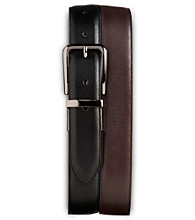 Harbor Bay® Men's Big & Tall 2-For-1 Leather Belts - Black/Brown