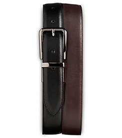 Harbor Bay® Men's Big & Tall 2-For-1 Leather Belts - Black/Brown