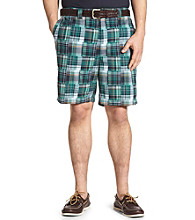Harbor Bay® Men's Big & Tall Waist-Relaxer® Flat-Front Patchwork Shorts - Navy