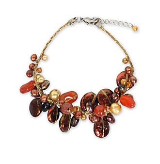 "NOVICA ""Hot Tropics"" Pearl and Carnelian Cluster Bracelet"