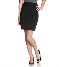 A. Byer Juniors' Asymmetrical Bandage Pleated Black Pencil Skirt