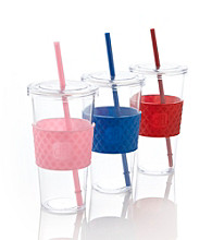 Design for Living™ Large Cold Beverage Cups with Colorful Sleeves
