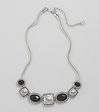 Napier® Black Stone Frontal Necklace - Silvertone