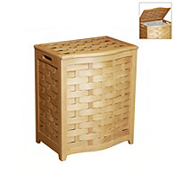 Oceanstar Bowed-Front Natural Veneer Laundry Hamper