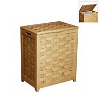 Oceanstar Rectangular Natural Veneer Laundry Hamper