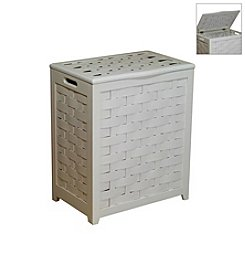 Oceanstar Rectangular White Veneer Laundry Hamper