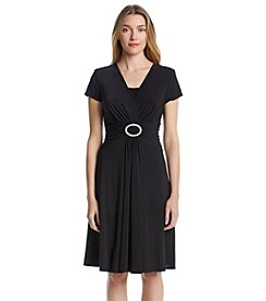 R & M Richards® Rhinestone Buckle Dress - Black