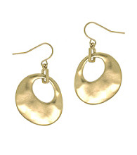 Kenneth Cole® Hammered Drop Earrings - Goldtone