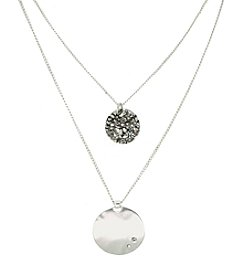 Kenneth Cole® Two Row Hammered Pendant - Silvertone