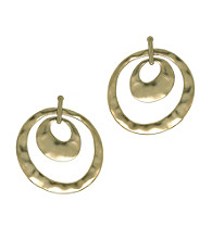 Kenneth Cole® Hammered Orbital Earrings - Goldtone